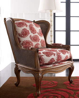 Paisley Cane Wing Chair traditional-chairs