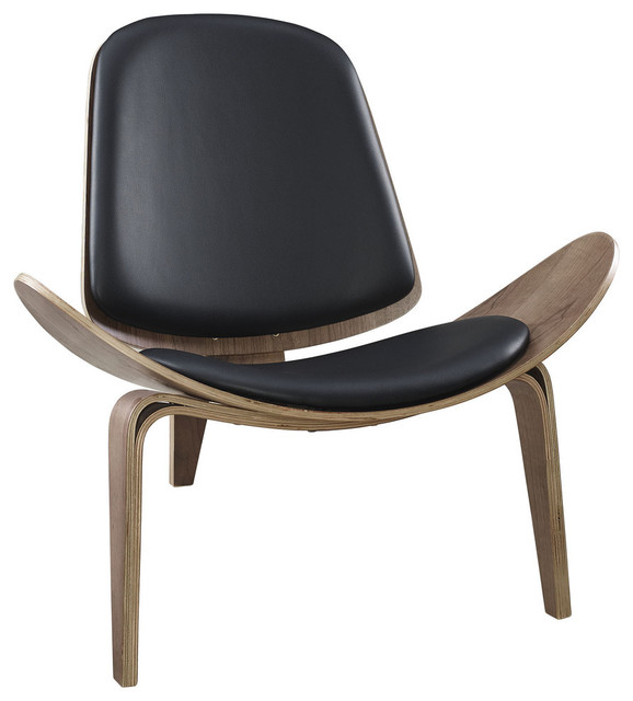 hans wegner style shell lounge chair walnut and black transitional indoor chaise lounge. Black Bedroom Furniture Sets. Home Design Ideas