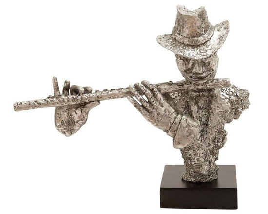 Benzara - Musician Silver Statue with Flute and Silver Finish - Just one glace at this statue will be enough to relax your stressed expression and bring you peace. Bring this serenity to your home in the form of this resin musician statue with a flute. Wherever you place it, it will bring to your home or office peace and happiness. The concentration and tranquility in the face of the musician playing the flute is infectious and admirable. Adequate to lift up your mood with just a glance, this resin musician statue with a flute is constructed with durable resin material and embraced with a silver oxidized finish for a glossy look. Resting on a flat wooden stand, this resin musician statue with a flute is a masterpiece to own. The sound of the flute is known to be one of the most soothing sounds to the ears and hence it can be a perfect gift for someone who is interested in art, music and literature..