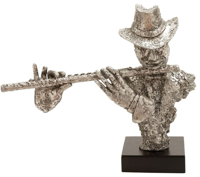 Musician Silver Statue with Flute and Silver Finish traditional-garden-statues-and-yard-art