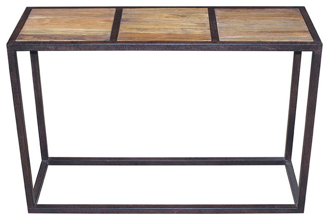 Lisbeth Urban Rustic Reclaimed Elm Iron Console Table transitional-console-tables