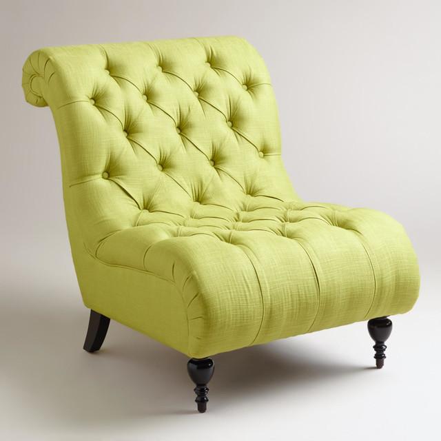 Green Tufted Devon Slipper Chair Contemporary