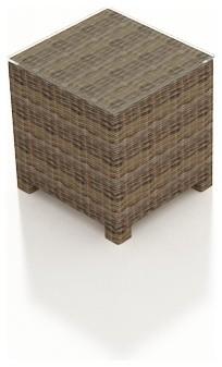 Cypress Wicker Patio End Table, Heather Wicker contemporary-outdoor-tables
