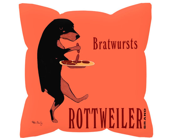 """Rottweiler Bratwursts Pillow - Rottweiler Bratwursts....... 18"""" x 18"""" pillow with concealed zipper and feather & down insert (95/5). 100% Eco friendly material printed with non toxic, non fading dyes. Front 100% polyester from recycled plastic bottles. Back 65% polyester from recycled plastic bottles; 35% organic cotton. Artwork by Ken Bailey and made in USA"""