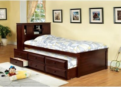 Furniture of America Brighton Twin Bookcase Headboard Storage Bed ...