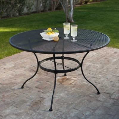 Wrought Iron Patio Dining Table Textured Black Modern Dining Tables