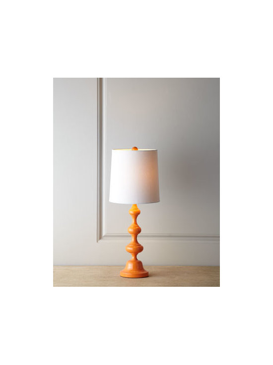 "Horchow - Glossy Orange Lamp - Exclusively ours. Brightly hued, slender lamp with a furniture-turned base and a tall, narrow shade is ideal for adding both light and color to narrower spaces. Made of resin Linen shade. Uses one 100-watt bulb. 9""Dia. x 22.5""T. Imported."