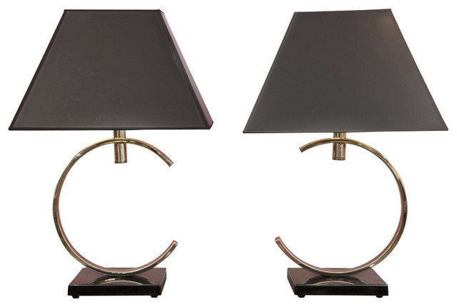 Brass And Stone Arc Lamp Pair Modern Table Lamps New