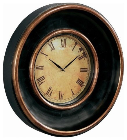 Espresso 30-in. Thick Framed Oversized Wall Clock traditional-clocks