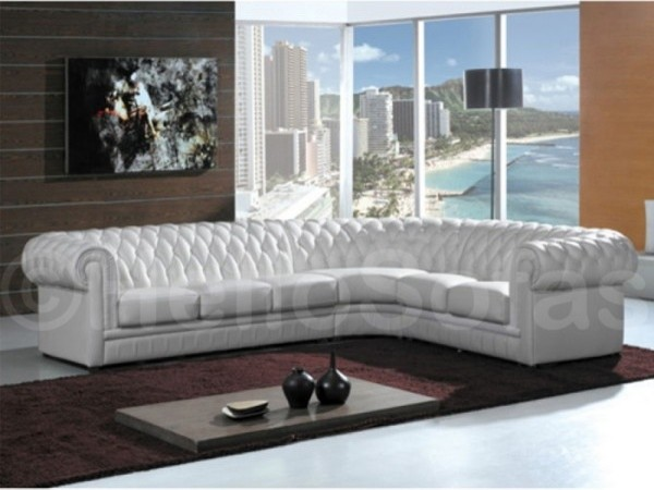 York Chesterfield White Leather Corner Sofa Traditional - leather sofa traditional white