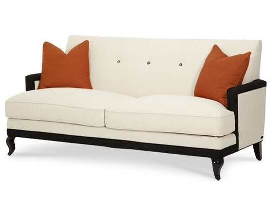 AICO Furniture - After Eight Cream/Tangerine Contemporary 3 Seat Sofa - 19815-CR - After Eight Collection Sofa
