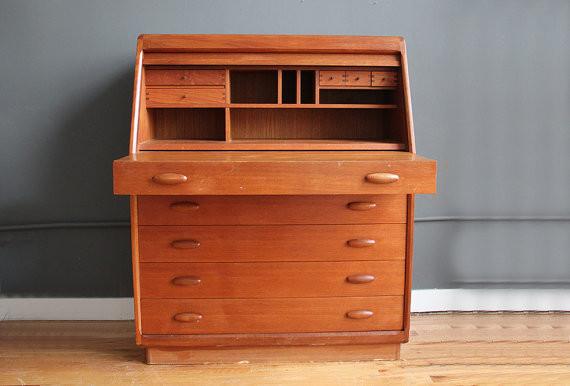 danish teak dyrlund modern tambour roll top desk by gallivanting girls modern desks and. Black Bedroom Furniture Sets. Home Design Ideas