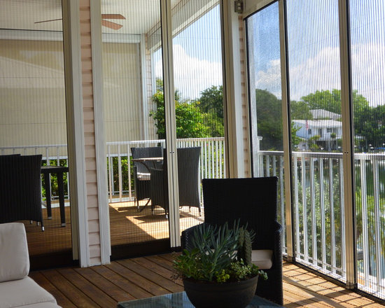 Retractable Pleated Screen for french doors, bi fold doors, and large spans. - Shade and Shield, Inc., Sarasota, FL