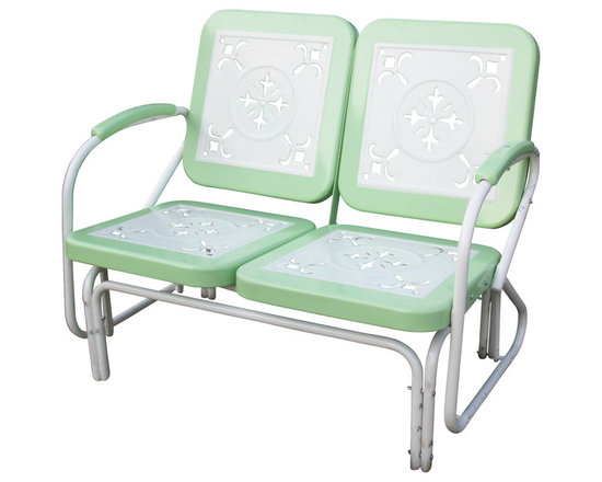 4D Concepts - 4D Concepts Metal Retro Glider in Lime and White Metal - Enjoy a wonderful evening out on the patio with this retro style glider. You'll get simply nostalgic over the cut-out details on all the seat and backrests. Built to be as comfortable as it is charming, this set features a glider for smooth to-and-for motion. The metal seat and backrests are trimmed in a vibrant shade of vintage lime green. The metal arms with vintage lime green metal capped armrest are a finishing touch to an outstanding glider. The rich powder coated white and yellow trim give it a distinct look. Constructed of metal. Clean with a dry non abrasive cloth. Assembly required.