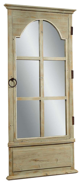 Door mirror in antique clear pine finish contemporary