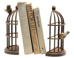 Bird Cage Bookends By SPI eclectic-bookends