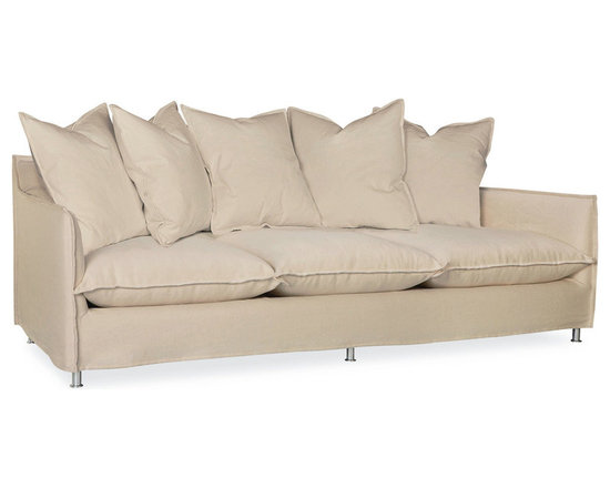 Malaga Scatterback Outdoor Sofa in Spinnaker Sarhara - Relax outdoors in the same comfort you do inside with this three-seater outdoor sofa. Fully upholstered with an advanced weather-resistant fabric over all but the six small metal feet, this sofa is a lush scatter-back design with three plump seat cushions over a draping slipcover that gives casual, upscale elegance to the sofa's architecture. Turned-out French seams define the edges of the pillows and the shape of the outdoor couch.