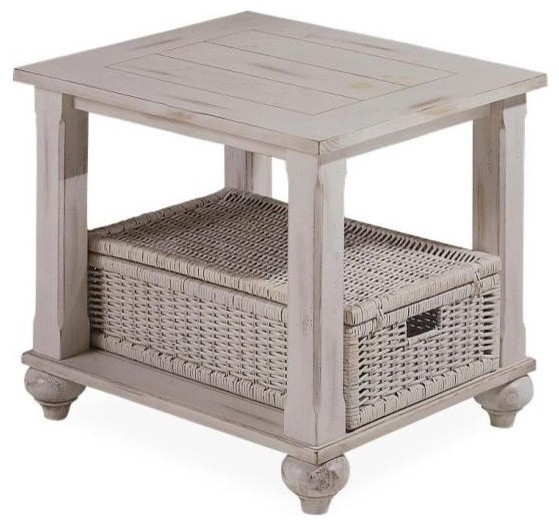 Treasures End Table In White With Wicker Basket Traditional Side Tables And End Tables By