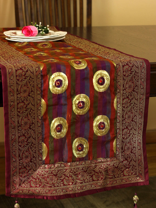 """Elegant Table Runners - """"Luxurious Satin Table Runner"""" Golden Saffron color. Hand embroidered shapes in a delicate and shiny silk.  Red Gold"""