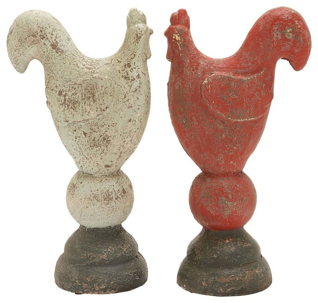 Rooster 2 Assorted Flaunting Red and White Hue traditional-patio-furniture-and-outdoor-furniture