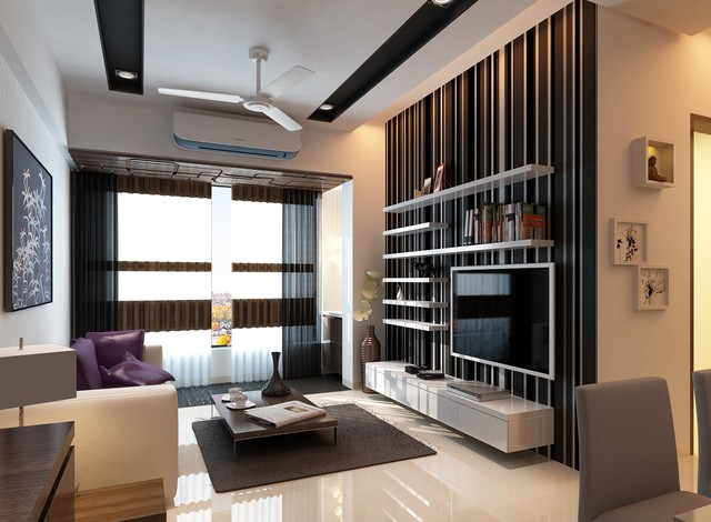 High end residential interior design project at borivali for High end living room designs