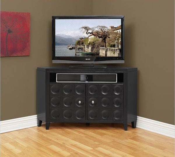 Kathy Ireland Home by Martin Furniture - Crescent TV Stand Corner Unit in Black - Contemporary ...