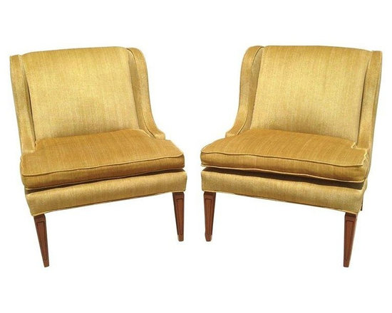 "Used Gold Mid-Century Modern Chairs - A Pair - Seller says: ""Grandma had these beauties custom made in 1952. Hardly used because grandma kept them in her formal room, where no one was allowed to go unless you were the Queen of England. In excellent condition. Gold velvet with a stria effect. No fading, no wear, no tears. The legs have some minor (hardly visible to the naked eye) scuffs from grandma's vacuum obsession."""