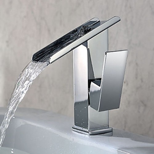 Modern Kitchen Sink Faucets: Single Handle Contemporary Solid Brass Waterfall Bathroom