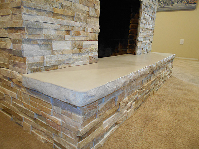 Fireplace Hearth 7 With Split Stone Edge Detail Indoor