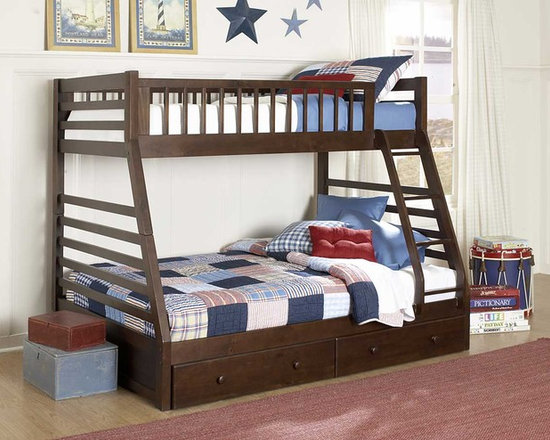 Dreamland Twin Full Bunk Bed with Storage Drawers - Give a distinct and vibrant look to your child's bedroom! The Bunk Bed for Three Kids, Furniture for Twins and Triplets
