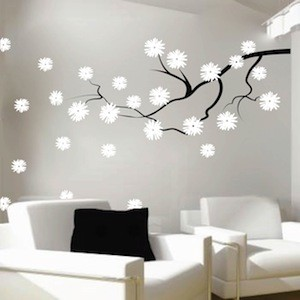Contemporary Branch with Flowers Wall Decal Contemporary