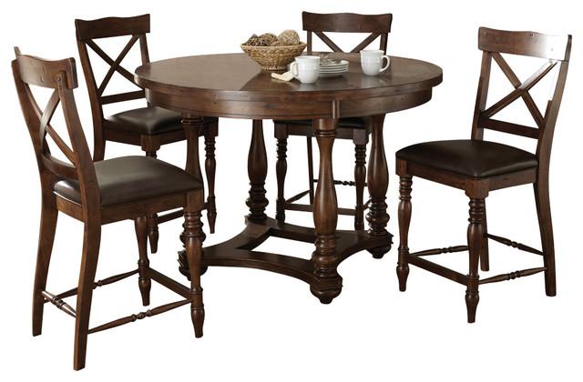 steve silver wyndham 5 piece round counter table set in