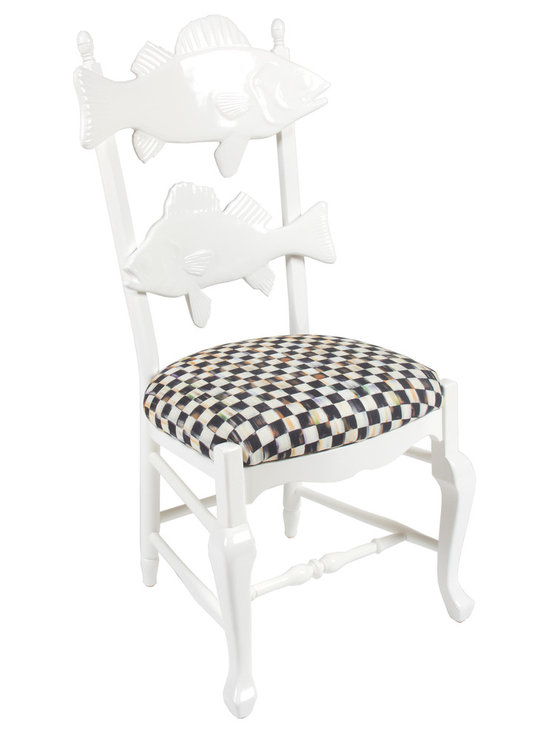 Cod Fish Chair with Courtly Check Seat | MacKenzie-Childs - Fresher than first-dawn's catch, our Cod Fish Chair's clean aesthetic crisply cuts through the clutter. The coat of white enamel paint and simple seat of striped chintz allows the eye to devour the impeccable craftsmanship and silhouette of this maple-frame chair. Accented by two composition fish on the chair back, the Cod Fish Chair easily goes with the flow of your decor. String a line of them along a vividly painted wall and watch the surrounding colors pop.