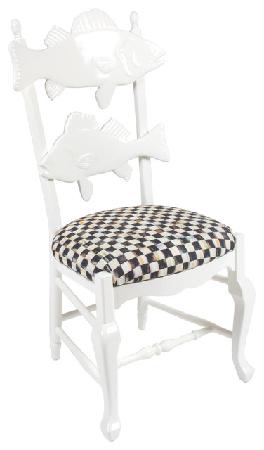 Cod fish chair with courtly check seat mackenzie childs for Mackenzie childs fish rug