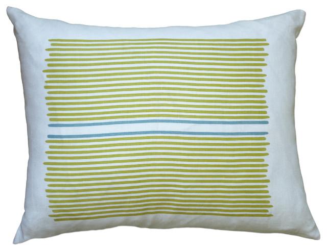 Hand Printed Linen Pillow - Louis Stripe, Yellow/Blue, 14 x 18 contemporary-decorative-pillows