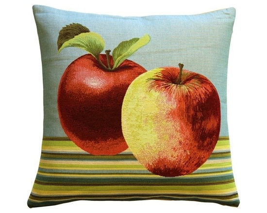Pillow Decor Ltd. - Pillow Decor - Fresh Apples 19 x 19 Throw Pillow - Two fresh apples give this bright tapestry pillow a colorful, crisp look. The background is a late Autumn sky color, while the foreground stripes are in bright lime green, teal, cream and dark brown. A great accent in a kitchen nook, or family room.