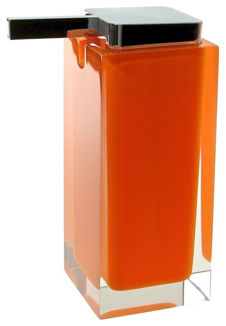 Modern orange countertop square soap dispenser modern for Bathroom countertop accessories sets