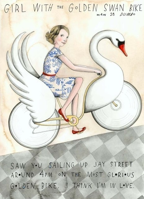 Girl With the Golden Swan Bike by Sophie Blackall contemporary artwork