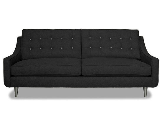Apt2B.com - Cloverdale Sofa Coal Coal/Mountain Grey - This cozy sofa is as comfortable as it is sophisticated. With an unexpected pop of color in the button tufting and a nice deep seat it's a perfect place to cuddle up with your date.