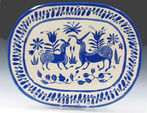 Fantasy Animals Oval Blue and White Platter by The Clay Bungalow eclectic-platters