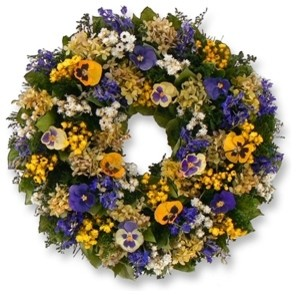 Balsam Hill Pansy and Hydrangea Spring Wreath contemporary-artificial-flowers
