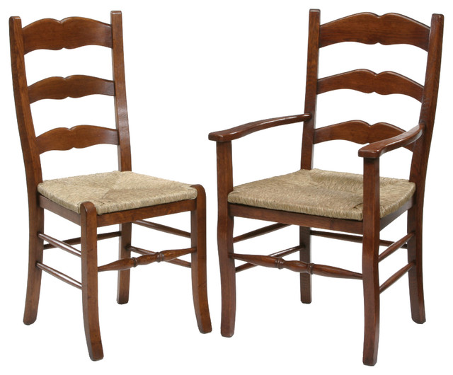 French Country Ladder Back Dining Chair Traditional