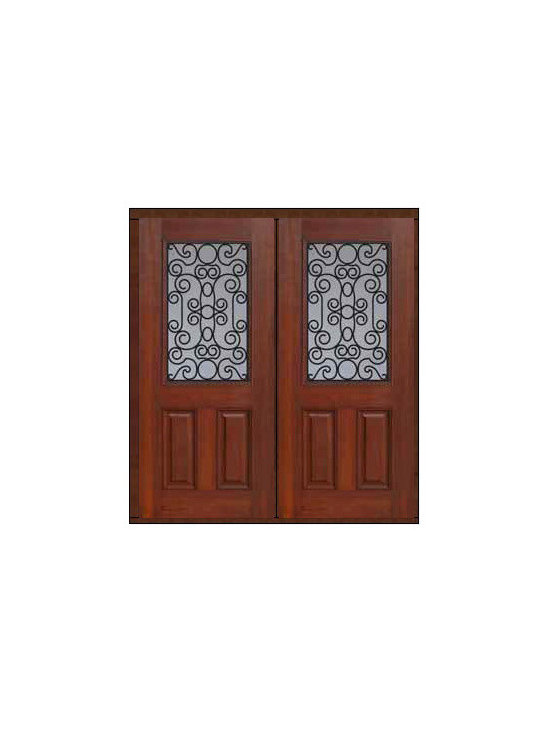 "Prehung Double Door 80 Fiberglass Genoa 2 Panel 1/2 Lite GBG Glass - SKU#    MCT012WG_DFHGG2Brand    GlassCraftDoor Type    ExteriorManufacturer Collection    1/2 Lite Entry DoorsDoor Model    GenoaDoor Material    FiberglassWoodgrain    Veneer    Price    2910Door Size Options    2(32"")[5'-4""]  $02(36"")[6'-0""]  $0Core Type    Door Style    Door Lite Style    1/2 LiteDoor Panel Style    2 PanelHome Style Matching    Door Construction    Prehanging Options    PrehungPrehung Configuration    Double DoorDoor Thickness (Inches)    1.75Glass Thickness (Inches)    Glass Type    Double GlazedGlass Caming    Glass Features    Tempered glassGlass Style    Glass Texture    Glass Obscurity    Door Features    Door Approvals    Energy Star , TCEQ , Wind-load Rated , AMD , NFRC-IG , IRC , NFRC-Safety GlassDoor Finishes    Door Accessories    Weight (lbs)    603Crating Size    25"" (w)x 108"" (l)x 52"" (h)Lead Time    Slab Doors: 7 Business DaysPrehung:14 Business DaysPrefinished, PreHung:21 Business DaysWarranty    Five (5) years limited warranty for the Fiberglass FinishThree (3) years limited warranty for MasterGrain Door Panel"