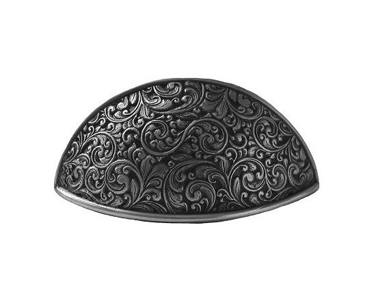 """Inviting Home - Saddleworth Bin Pull (antique pewter) - Hand-cast Saddleworth Bin Pull in antique pewter finish; 3-7/8""""W x 1-1/2""""H; C to C = 3""""; Product Specification: Made in the USA. Fine-art foundry hand-pours and hand finished hardware knobs and pulls using Old World methods. Lifetime guaranteed against flaws in craftsmanship. Exceptional clarity of details and depth of relief. All knobs and pulls are hand cast from solid fine pewter or solid bronze. The term antique refers to special methods of treating metal so there is contrast between relief and recessed areas. Knobs and Pulls are lacquered to protect the finish. Detailed Description: The Saddleworth pulls and the Saddleworth bin pulls both look intricate and interesting. The pulls are rectangular shaped while the bin pulls have a bit more of a dome look to them. They both can be used with the Saddleworth knobs. You may use the knobs on the doors the pulls on the smaller drawers and the bin pulls on the larger or wider drawers. That way you will get a variety of shapes and sizes while still keeping to the same design."""