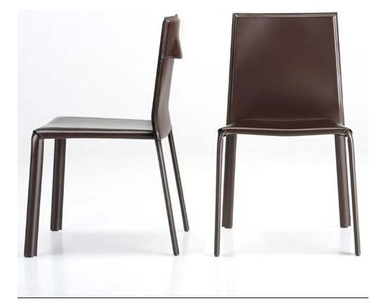 Estel - Estel | Mia Chair, Set of 2 - The Mia Chair boasts a stackable seat with clean and essential lines that make is highly functional and aesthetically versatile for many rooms of the home. Its internal iron structure is completely covered in saddle leather and characterized by a clever handle on the chair's backrest. Sold in sets of 2.