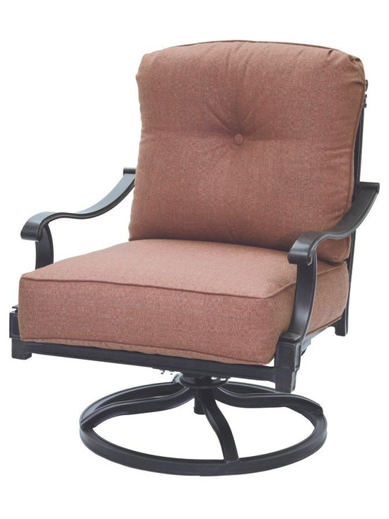 Darlee - Darlee Charleston Swivel Rocker Club Chair - DL1096-1/101 - Shop for Chairs and Sofas from Hayneedle.com! Elevate your patio to lounge-worthy outdoor living space with the Darlee Charleston Swivel Rocker Club Chair. This club chair features generous seating plush cushions and a smooth swivel and rock base. Not just supremely comfortable it's also decidedly stylish. It features a column and vine back detail plus hand-applied powder-coated antique bronze finish. Crafted from premium-quality cast aluminum that withstands the elements in style.About DarleeSince 1993 Darlee has developed a wide variety of products to help you create your ideal outdoor-living environment. Working with high-quality materials Darlee achieves a large spectrum of styles that covers a range of interests as well as aesthetic tastes. From classic to contemporary from conversation sets to dining sets to fire pits Darlee has you covered for outdoor entertaining. Because the company knows good business is built on trust and integrity Darlee focuses on reliable quality construction and remains committed to providing customers with the best service possible.