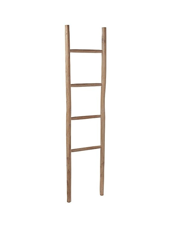 Serena & Lily - Whitewashed Teak Ladder - Don't you love this gorgeous wooden ladder? It's perfect for hanging towels or stacking magazines for easy access in a bathroom or guest room.
