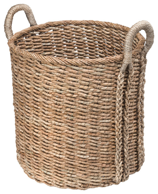 How To Make A Woven Grass Basket : Round sea grass basket contemporary baskets other