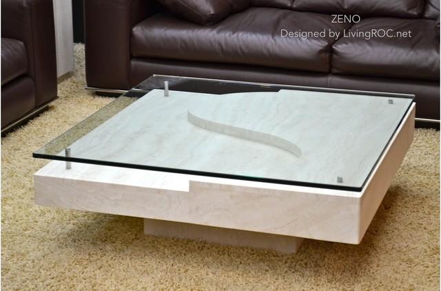 "ZENO 39""x39""x14'' MARBLE TRAVERTINE COFFEE TABLE craftsman-living-room"