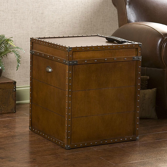 Steamer Walnut Finish Trunk End Table contemporary-indoor-pub-and-bistro-tables